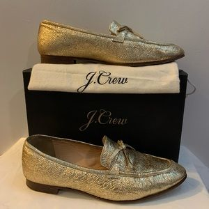 J crew gold metallic leather academy loafers